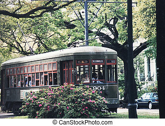 New Orleans tram 2002 - Green Street Car in New Orleans, USA