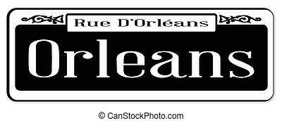 New Orleons street sign of Rue D'Orleans over a white background