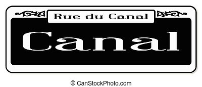 New Orleons street sign of Rue du Canal over a white background
