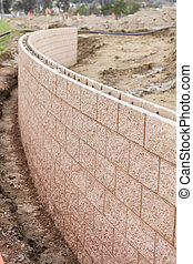 New Outdoor Retaining Wall Being Built - Curved New Outdoor...