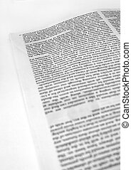 New paper article - Close up of new paper article