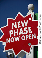 New Phase Now Open - Red New Phase Now Open Realty Sign