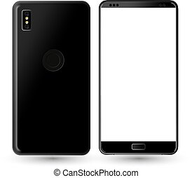 new phone front and black vector drawing eps10 format isolated on white background.