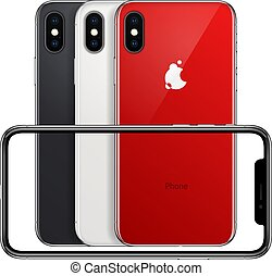 new phone front frame and red, white, black back sides vector on white background