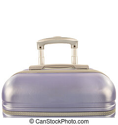 New pink suitcase isolated above white background.