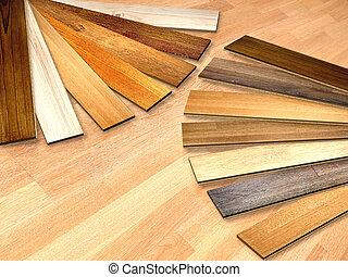 New planks of oak parquet of different colors