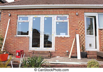 New plastic windows fitted on a bungalow