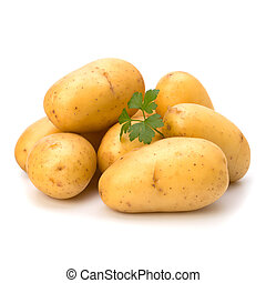 New potato and green parsley isolated on white background...