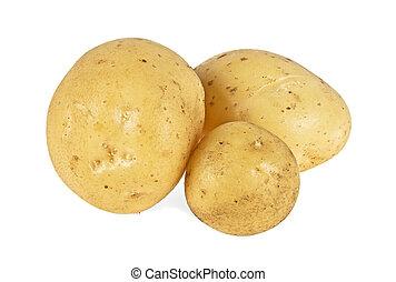 New potato isolated on white background, close up
