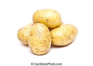 New potato isolated on white background close up