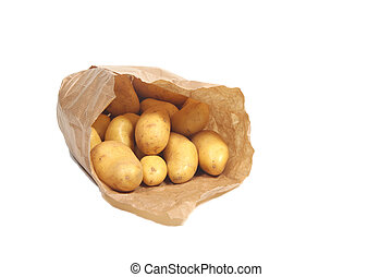 New potatoes in paper bag
