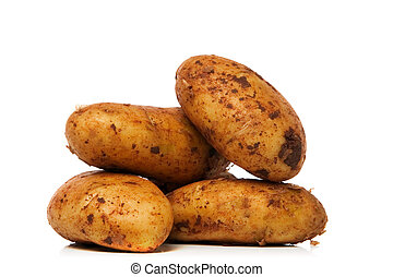 new potatoes isolated over white background