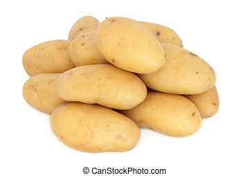 New potato vegetables in a pile over white background, charlotte variety.