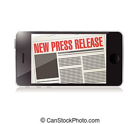 new press release phone news illustration design over a...