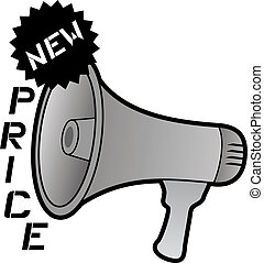 New price and megaphone