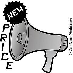 New price and megaphone