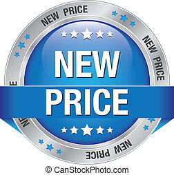 new price blue silver button isolated background