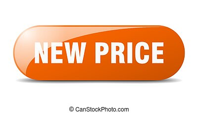 new price button. sticker. banner. rounded glass sign