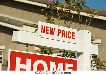 New Price Real Estate Sign & New Home