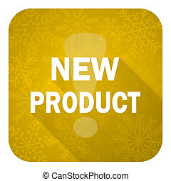 new product flat icon, gold christmas button