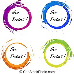 New product grunge style colored on white background