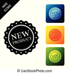 New product label, badge, seal, sticker, tag, stamp icon isolated. Set icons colorful square buttons. Vector Illustration