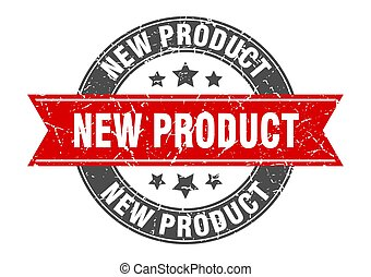 new product round stamp with red ribbon. new product