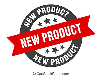 new product sign. new product black-red round ribbon sticker