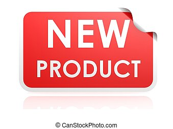 New product sticker - Rendered artwork with white background