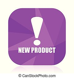 New product violet square vector web icon. Internet design and webdesign button in eps 10. Mobile application sign on white background.