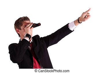 New Prospects - A smart businessman using a binocular. All...