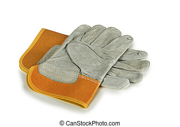 New protective gloves on white background