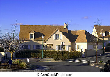 New real estate in France in the Paris region. Houses in an allotment which has just been finished.