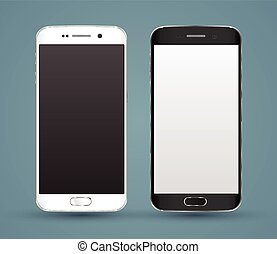 New realistic smartphones mockups with blank screen isolated...