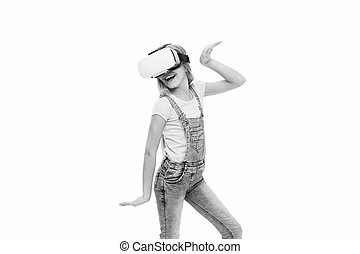 new reality. Girl little kid wear vr glasses on white background. Virtual education concept. Modern life. Interaction in virtual space. Cyber gaming. vr technology. Virtual reality is exciting