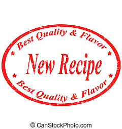 New Recipe-stamp - Grunge rubber stamp with text New...