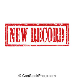 New Record-stamp - Grunge rubber stamp with text New Record...