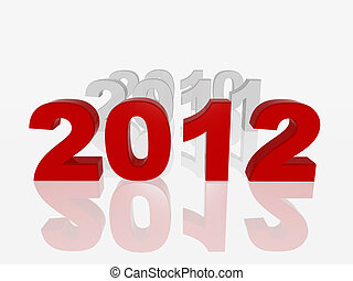 new red 2012 - 3d colour numbers new 2012 and previous years