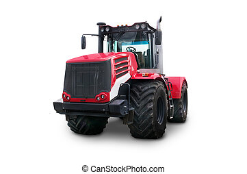 New red agricultural tractor isolated on white background
