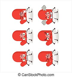 New red gloves cartoon character with various angry expressions