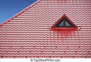 new red roof of sheet metal