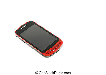 New red smartphone on white background