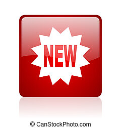 new red square web glossy icon