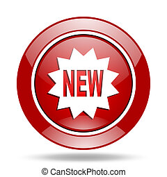 new red web glossy round icon