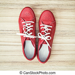 New red women's leather shoes, beauty and fashion