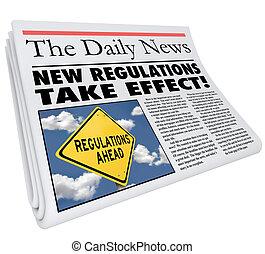 New Regulations Take Effect Newspaper Headline Information -...