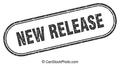 new release stamp. rounded grunge textured sign. Label - new...