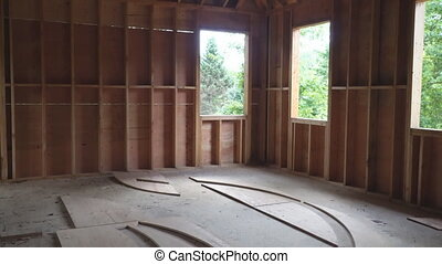 New residential construction home framing a wooden...