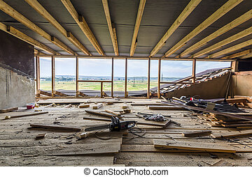 New residential construction home framing. Interior framing of a new house under construction