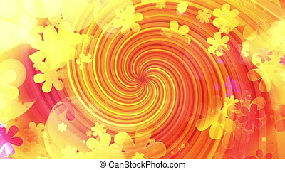 New Retro Swirl flowers and shapes red yellow pink multicolored CG looping background